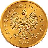 Argent polonais de face pièce de monnaie en cuivre de deux groszy Photographie stock libre de droits
