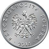 Argent polonais de face une pièce de monnaie de zloty Photo libre de droits