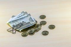 Argent, 5 roupies de pièces de monnaie et 500 roupies de notes Image libre de droits
