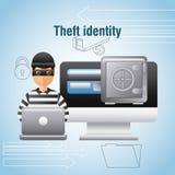 Argent sûr de boîte d'ordinateur portable de pirate informatique d'identité de vol numérique illustration de vecteur