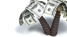 Argent s'élevant sur des arbres, dollars Images stock