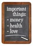 Argent, santé et amour Image stock
