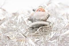 Argent Santa de Noël blanc images stock