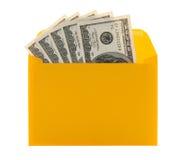 Argent sous enveloppe jaune photo stock