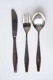 Argenteria: coltello, forcella, cucchiaio Fotografia Stock