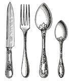 Argenterie de vintage. Couteau, fourchette et cuillère Photos stock