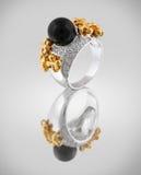 Argenti l'anello con la perla nera Immagini Stock Libere da Diritti