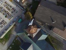 Argentiere church steeple from above Royalty Free Stock Image