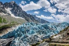 Argentiere glaciär i Chamonix Alps, Mont Blanc Massif, Frankrike arkivfoto