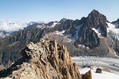 Argentiere glaciär från tusen dollar Montets Royaltyfria Bilder