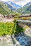 Argentiere village royalty free stock photo