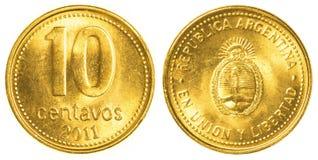10 Argentijns centavosmuntstuk Stock Afbeelding