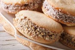 Argentijns dessert: koekjes alfajores op een plaatmacro horizon royalty-vrije stock fotografie