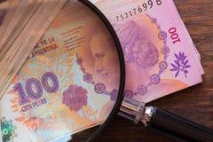 Argentijns geld, peso, hoge benamingen met het overdrijven royalty-vrije stock foto's