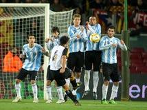 Argentijnse spelers op de muur stock fotografie