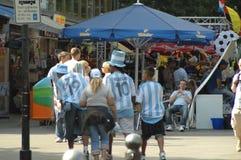 Argentijnse Voetbalventilators bij de de Voetbalwereldbeker van 2006 in Berlijn op 29 Juni, 2006 één dag vóór de kwartfinale Royalty-vrije Stock Afbeeldingen