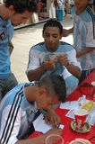 Argentijnse Voetbalventilators bij de de Voetbalwereldbeker van 2006 in Berlijn op 29 Juni, 2006 één dag vóór de kwartfinale Stock Afbeelding