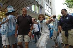Argentijnse Voetbalventilators bij de de Voetbalwereldbeker van 2006 in Berlijn op 29 Juni, 2006 één dag vóór de kwartfinale Stock Afbeeldingen