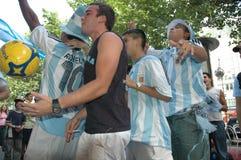 Argentijnse Voetbalventilators bij de de Voetbalwereldbeker van 2006 in Berlijn op 29 Juni, 2006 één dag vóór de kwartfinale Royalty-vrije Stock Afbeelding