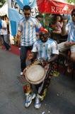 Argentijnse Voetbalventilators bij de de Voetbalwereldbeker van 2006 in Berlijn op 29 Juni, 2006 één dag vóór de kwartfinale Royalty-vrije Stock Foto