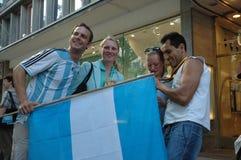 Argentijnse Voetbalventilators bij de de Voetbalwereldbeker van 2006 in Berlijn op 29 Juni, 2006 één dag vóór de kwartfinale Royalty-vrije Stock Fotografie