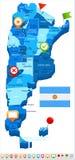 Argentina - översikts- och flaggaillustration Arkivbild