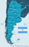 Argentina - översikts- och flaggaillustration Royaltyfri Foto