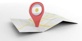 Argentina översiktspekare på vit bakgrund illustration 3d royaltyfri illustrationer