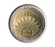 Argentina, 2010 bicentenary anniversary coin. Royalty Free Stock Photos
