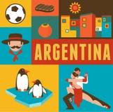 Argentina affisch och bakgrund med uppsättningen av symboler royaltyfri illustrationer