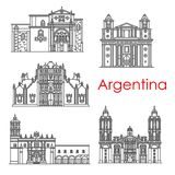 Argentina landmarks architecture vector line icons. Argentina architecture landmarks and famous building line facade icons. Vector set of Santo Domingo cathedral Stock Image