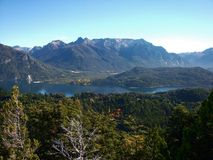 Argentina Bariloche Patagonia panorama view lake and mountains Stock Image