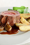 Argentina Beef 01. Roast meat with potatoes, garlic, jam and vegetables Stock Photos