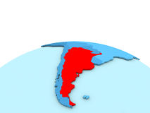 Argentina on blue globe. Argentina in red on simple blue political globe. 3D illustration Royalty Free Stock Images