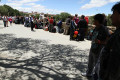 Argentina-Bolivian border. In connection with faults in a computer system at the border crossing La Kyaka - Villazon (Argentina-Bolivia) was a large crowding Stock Photos