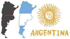Argentina border shape, flag and hand drawn sun emblem on white Stock Images