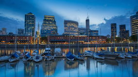 Argentina Buenos Aires Puerto Madero at night stock footage