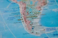Argentina and Chile in close up on the map. Focus on the name of country. Vignetting effect.  royalty free stock photos