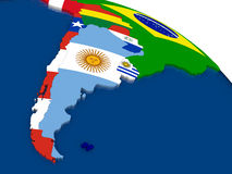 Argentina and Chile on 3D map with flags Stock Photography