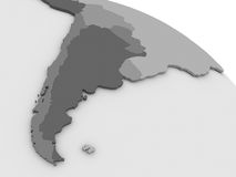 Argentina and Chile on grey 3D map Stock Photography