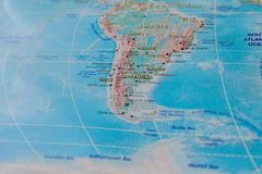 Argentina, Chile and Uruguay in close up on the map. Focus on the name of country. Vignetting effect.  royalty free stock photo