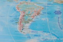 Argentina, Chile and Uruguay in close up on the map. Focus on the name of country. Vignetting effect.  stock images
