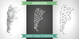 Argentina collection of vector design modern maps, gray and black and silver dot outline mosaic 3d map. Set of Argentina polygonal mosaic modern maps Stock Image