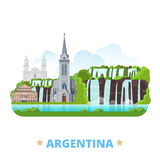Argentina country design template Flat cartoon sty. Argentina country flat cartoon style historic sight web site vector illustration. World vacation travel Stock Photography