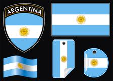 Argentina crest e flag. Illustration of argentina vector patch flag and label Royalty Free Stock Images
