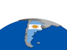 Argentina on 3D globe Stock Photo