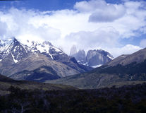 argentina del paine patagoniatorres Arkivfoton
