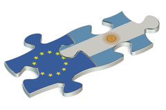 Argentina and EU puzzles from flags Stock Photography