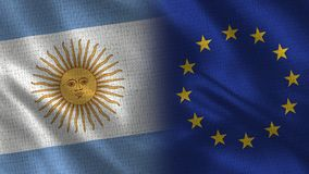 Argentina and European Union Realistic Half Flags Together. Fabric Texture - High Quality royalty free illustration