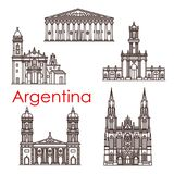 Argentina landmarks vector architecture line icons. Argentina famous landmark buildings and sightseeing architecture line icons. Vector set of churches and Royalty Free Stock Photos